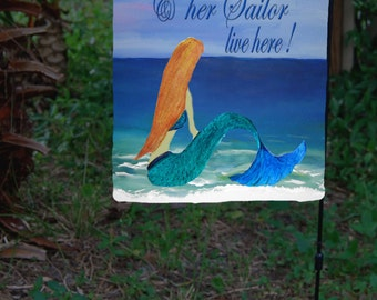 Mermaid and Sailor Garden Flag from art. Available in 2 sizes