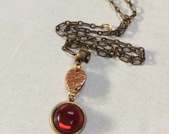 Red vintage glass fine silver pendant necklace.Cinnabar, Inca gold patinas.Textured silver teardrop necklace.