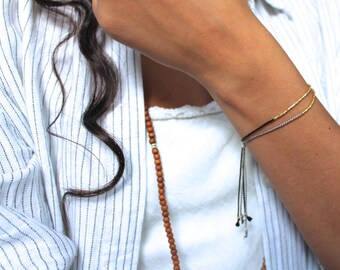 Gold beaded bracelet,  24k gold vermeil silk bracelet, gold hammered beaded bracelet, simple gold bracelet, black silk gold bracelet