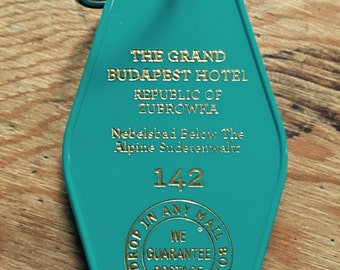 Teal and Gold lettered Grand Budapest Hotel Inspired Keytag