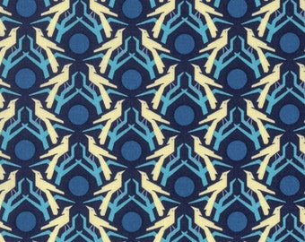 Hello Love by Heather Bailey for Free Spirit - Blackbird - Midnight Blue - Fat Quarter - FQ - Cotton Quilt Fabric 217