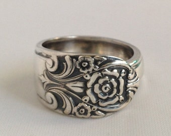 "Spoon Ring ""Melody"" 1954 Silverware Jewelry Vintage Silverplate Size 5 to 12 Choose Your Size"