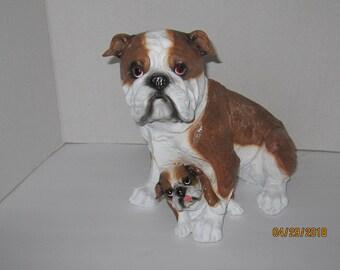 Bull Dog Family Figurine