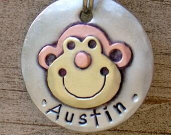 Small Dog ID tag- metal pet tag-  Monkey