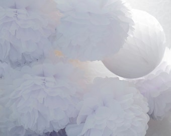 White 15 mixed sizes tissue paper Pom Poms set  - paper pompoms - fluffy -wedding party  decorations - pompoms - paper flowers - weddings