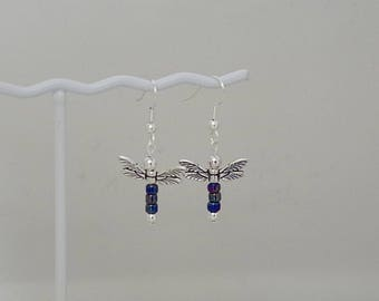 Dragonfly Earrings -  Available in Most Colors - Shown in Blue Iris - French Hooks, Leverbacks or Posts
