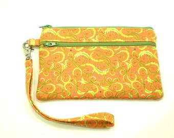 Smartphone iPhone Cell Phone Case, Double Pocket Wristlet, Detachable Strap, Orange with Lime Green Swirls 5253