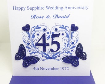 Beautiful Handmade Personalised Sapphire wedding Anniversary Card 45 years