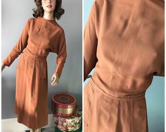 Cinnamon crepe 1940's  dress-S-M
