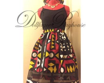 Wax Print Mid Length Circle Skirt