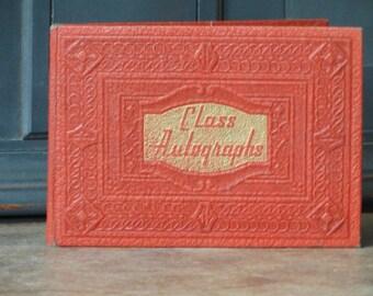 Jahrgang Autogrammbuch, Rot & Gold, Leder-Cover, leere Seiten, 6