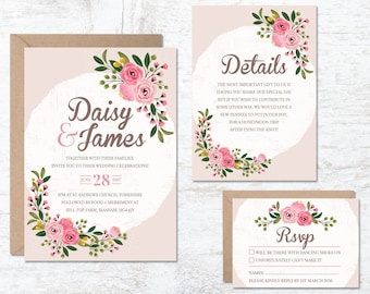 Wedding Invitation Template, Wedding Invitation Floral, Printable Invitation, Rustic Invitation, Wedding Invitation Set, Boho Wedding