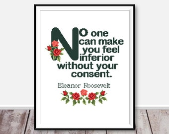 Quote Eleanor Roosevelt cross stitch pattern Modern cross stitch Quote strong women Needlecraft Feminism quote counted cross stitch chart