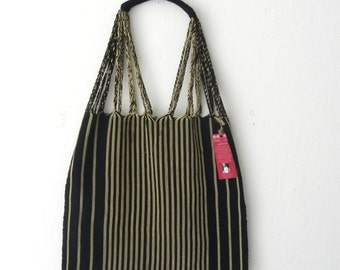 Fair Trade Black & Beige Stripes Hand Woven Loom/Boho/Hippie/Chic Shoulder Tote Handbag