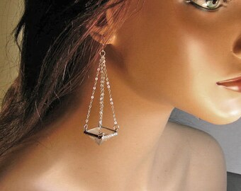 Sterling silver clear crystal quartz pyramid dangle earrings, statement, gift