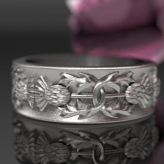Thistle Ring, 925 Sterling Silver Scottish Ring, Unique Rings for Her, Botanical Jewelry, Handcrafted Rings, Custom Size 5057