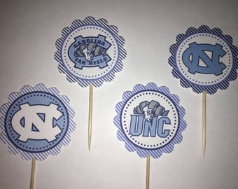 University of North Carolina Chapel Hill / UNC Tarheels - 12 cupcake toppers