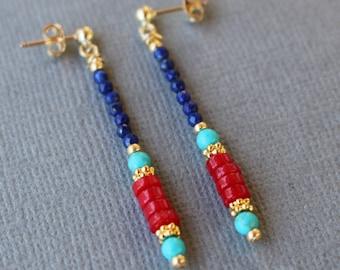 Coral and lapis earrings, coral earrings, gold post earrings, gemstone dangle earrings, boho chic beaded earrings, beaded earrings