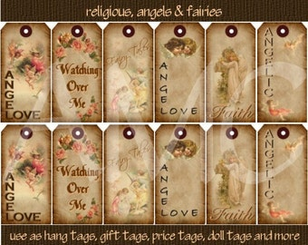 Primitive Vintage Angels Fairy Religious Image Printable Hang Tags for Scrapbooking Art