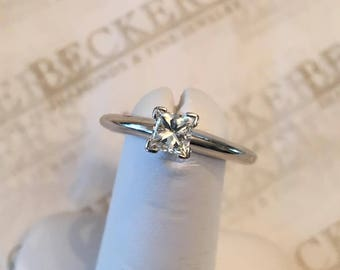 Vintage 14k white gold cathedral style solitaire engagement ring, Princess Cut Diamond .54 ct, H-VS1, size 7.25
