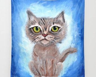 Kitty Cat Throw Blanket  -  kitten , cute   blanket throw  - fluffy blue, big eyes , cat lover gift, beautiful  decor,  tabby cat, cozy gift