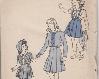 """Sz 8-1940's Girl's Bolero Suit and Blouse Butterick 3724 Breast 26"""""""