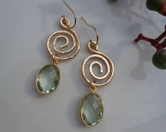 Gold Earrings with green amethyst and spiral elements, 585 gold filled