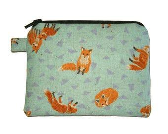 Natural Orange Fox Coin Purse - Small Zipper Pouch - Fox Change Purse - Fox Purse - Coin Pouch - Animal Purse - Fox Bag
