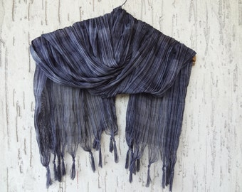 Handwoven infinity scarf, Black,Grey Striped Scarves, Natural,Organic Scarf, Fashion accessories, Women Scarves