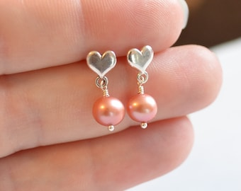 Dark Rose Pearl Earrings, Child, Sterling Silver Heart Ear Posts, Flower Girl, Genuine Freshwater, Childrens Jewelry