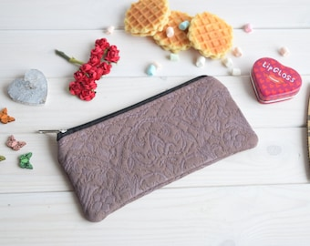 Make Up Pouch, Charger bag, Project bag, Travel bag, Bridesmaid gift, Bridal purse, Pencil case, Pencil Pouch, Cosmetic pouch, cute pencil