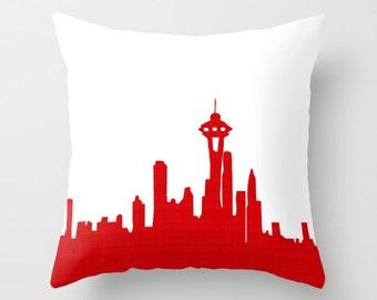 """Seattle Skyline on Throw Pillow 18"""" x 18"""" - novelty throw pillows, decorative throw pillows, seattle on pillows"""