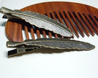 Women's fashion vintage and antique brass feather hair clips hair accessory