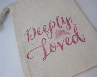 Deeply Loved - Prayer Bead Drawstring Pouch