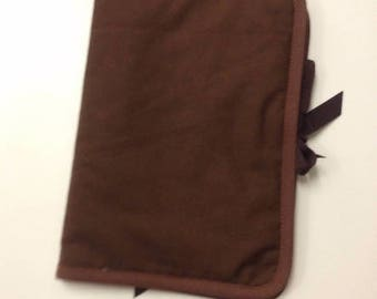 Health Book personalize flocking, applique etc. Brown color fabric outline choice.