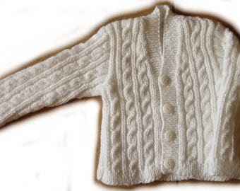 White Cardigan with cables - 12 months