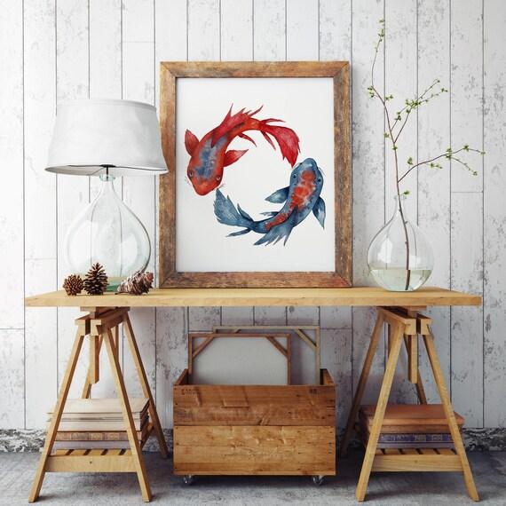 Yin Yang Koi Fish | Archival print poster | Wall decor | Watercolor painting | Japanese art | Red and Blue artwork | Meditation art | Yoga
