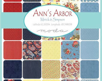 """Moda Anns ArborCharm Pack (42) 5"""" Quilt Fabric Squares by Minick and SimpsonQuilting Sewing"""