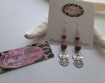 ANGEL CHARM earrings with goldstone natural beads