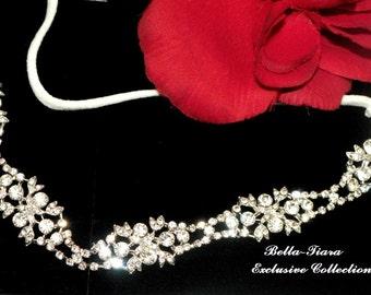 crystal wedding headband, crystal hair accessory, wedding stretch headband, bridal headband, wedding forehead band