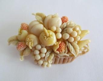 Japanese Made in Japan Celluloid Fruit Basket Brooch Pin Vintage