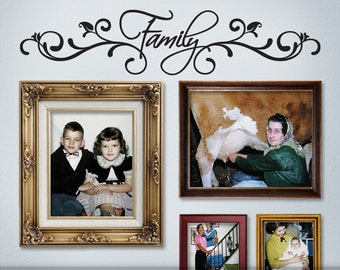 Photo Gallery Topper Vinyl Wall Decal: Family with Fancy Swirls Embellishments (0179b6v)