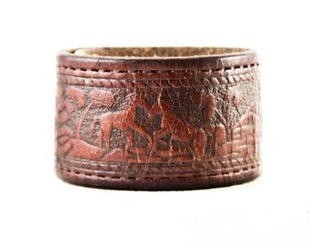 Leather Cuff, Vintage Distressed Tooled Leather Bracelet, Leather Jewelry, Brown Leather, Tan Leather, Bracelet Cuffs For Women