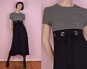 80s Black and White Striped Maxi Dress/ US 2/ 1980s