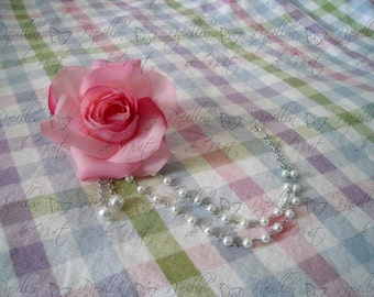 Single Rose Pearl Corsage Hair Clip / Pin