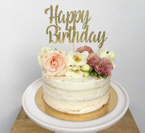 Happy Birthday Cake Topper Custom Personalized Glitter Cake Topper