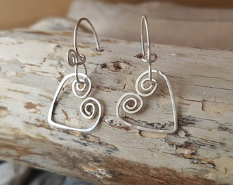 Thought's of Love Heart Earrings, Handcrafted One of a kind, Sterling Silver, Fair Trade, Vegan Friendly