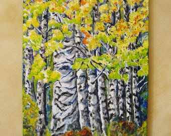 Large aspen tree painting, Original large oil painting on canvas aspen trees