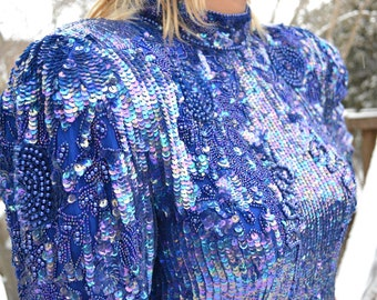 Beaded and Sequence Indigo Dream Dress