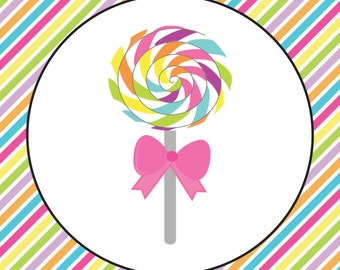 Lollipop Candyland Cupcake Toppers, Favor tags, or food labels